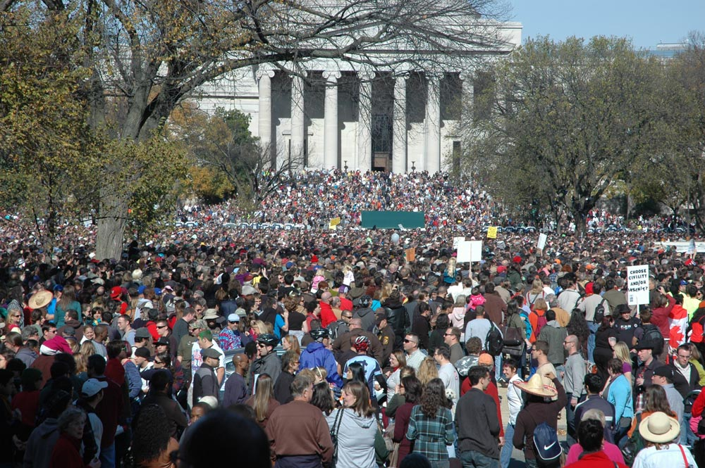 The rally (this is                                             the across the mall view,                                             not the down the mall view)